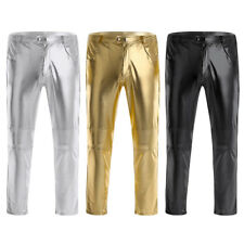 Mens Faux Leather Tight Pants Clubwear Wetlook Legging Slim Long PanrtsTrousers