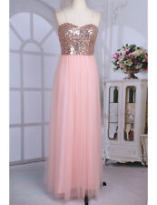 Formal Women Strapless Sequins Bridesmaid Dress Long Evening Party Prom cocktail