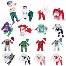 Baby Kids Boys Girls Christmas Romper Top Pants Set Outfit Toddler Dress Clothes