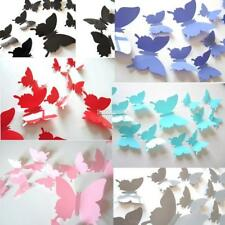 12Pcs 3D Butterfly Wall Sticker Room Removable Decal Decor Art Mural DIY FT