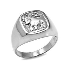 Sterling Silver Taurus Mens Zodiac Sign Ring