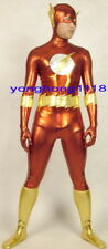 Red/Gold Shiny Lycra Metallic Superhero Flash Suit Catsuit Costumes Unisex Y044