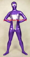 Purple/Silver Shiny Metallic Spiderman Catsuit Costumes Unisex Spider Suit Y048