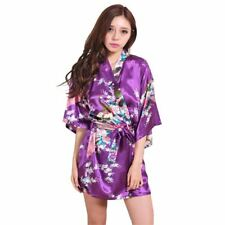 Purple Female Printed Floral Kimono Dress Gown Chinese Style Silk Satin Robe Nig