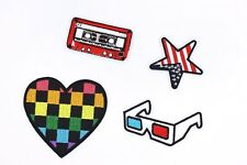 Iron On Patches Heart Star Cassette Tape Glasses Applique Embroidered Patch 2pcs