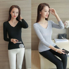 Casual Slim Long Sleeve Sweater Womens V-neck Knitwear Pullover Jumper Tops
