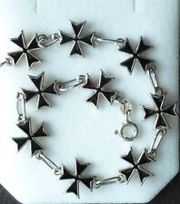 925 Sterling Silver Maltese Cross Bracelet with Black Enamel/Smalt