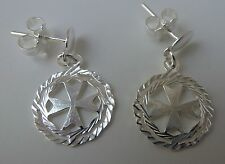Sterling Silver Maltese Cross Amalfi Cross Earrings with pin