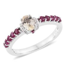 Imperial Topaz, Ruby, Cambodian Zircon Platinum Over Sterling Silver Ring (Size