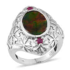 Canadian Ammolite, Ruby Vibrant Platinum Over Sterling Silver Shank Ring (Size 8