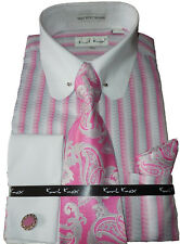 Mens Karl Knox Pink White Eyelet Pin Collar French Cuff Dress Shirt & Tie SX4354
