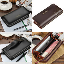 Mens PU Leather Wallet Long Business Credit Card Holder Money Bag Purse Zip New