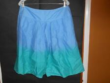 NWT St. Johns Bay Sz 14 Cotton Pleated Skirt Multicolor Blue Green Knee Length