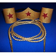 Wonder Woman Costume Choose number pcs & Sz Tiara -Cuffs -Gold Lasso Super Hero
