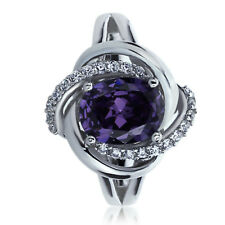 Sterling Silver Engagement Ring CZ Oval Violet Purple CZ Swirl Ring
