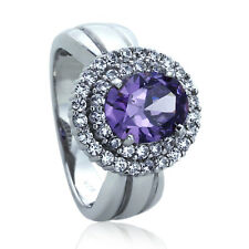 Sterling Silver Engagement Ring CZ Oval Violet Purple CZ Halo Ring