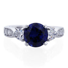 Platinum Plated Sterling Silver Engagement Blue Round CZ Three Stone Shape Ring