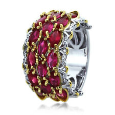 Sterling Silver Engagement Ring CZ Red Color Marquise CZ Two Tone Ring