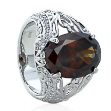 Sterling Silver Engagement Ring CZ Oval Smoky Color CZ Antique Style Ring