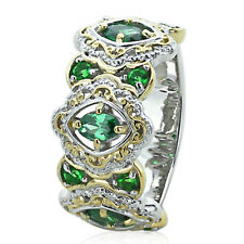Sterling Silver Engagement Ring CZ Green CZ Two Tone Wedding Band