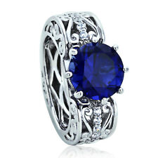 Sterling Silver Engagement Ring CZ Blue Round CZ Vine Heart Ring