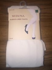 Womens Merona Fleece-Lined Tights 1pr. Solid Ivory Size S/M or M/L -NEW