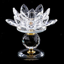 Crystal Lotus Flower Candle Holder Tealight Home Tabletop Feng Shui Decor