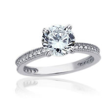 14K White Gold Engagement Ring CZ Round Solitaire With Accent Band Ring