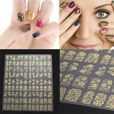 Flower Design Art Stickers Golden Nail Tips DIY Nail Stickers Decal Manicure 3D