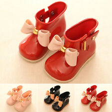 Kids Girl Toddler Bowknot boots Waterproof Rain Boots Winter Jelly Buckle Shoes
