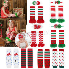Baby Girls Christmas Cotton Legging Floral Mesh Socks Leg Warmers Headband Xmas