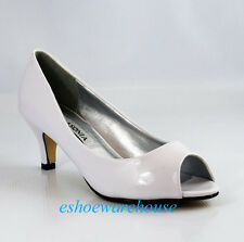 White Patent Leatherette Open Toe Low Mid Heel Cute Must Have Dress Pumps Shoes