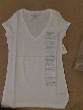 AEROPOSTALE WOMENS AREO SEQUENCED GLITTER GRPHIC TEE BLEACH IN S AND M NWT