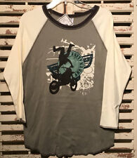 NWT~BOUTIQUE~MIS TEE V-US~MOTOR CROSS~ADRENALINE~L/S~TEE~OLIVE GREEN~7/8, 10, 12