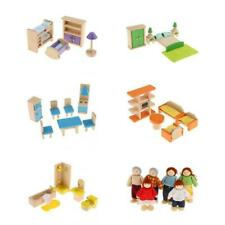 Wooden Dollhouse Miniature Furniture Set Kids Pretend Play Toys Christmas Gifts