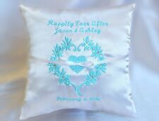 Personalized 16 Colors Heart Wreath Happily Ever After Satin Ring Bearer Pillow