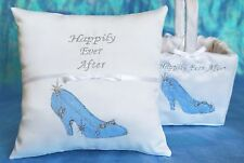 Happily Ever After Cinderella Slipper Blue White Ring Bearer Pillow & Basket
