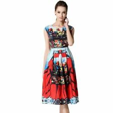 Women Fashion Print Flower Sleeveless Tunic  Tank  Dress