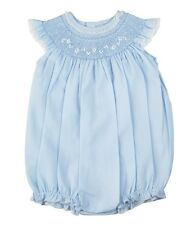 Feltman Brothers Bubble Girls Blue Smocked with Lace Trim Infant NWT