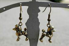 Poodle dog charm earrings, silver,or brass color,drop/dangle,handmade