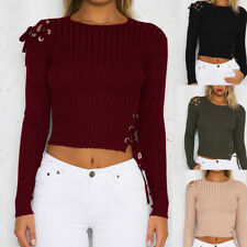 Womens Lace Bandage Crop Tops Blouse Ladies Casual Pullover Ribbed Jumper Tops