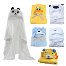 Baby Bath Towel Coral Fleece Blanket Infant Hooded Wrap Bathrobe Animal Design