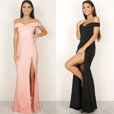 Women Off Shoulder Long Maxi Casual Side Split Slim Evening Party Dress Elegant