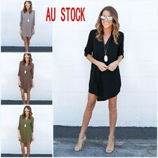 New Womens Casual Long Sleeve Chiffon Evening Cocktail Party V neck Shirt Dress