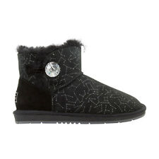 Ugg Boots Sheepskin Crystal Button Ankle Boot  - AUZLAND BAMBI Black Ladies Size