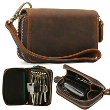 Unisex Cow Leather Key Card Holder Bag Small Wallet Zip Around Brown Coin Purse