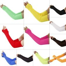 Women Winter Classic Pure Color Soft Knitted Arm Warmer Long Fingerless Gloves
