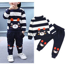 Kids Boys Girls Bear Outfit Long Sleeves Striped Tops+ Pants Set Cartoon Clothes
