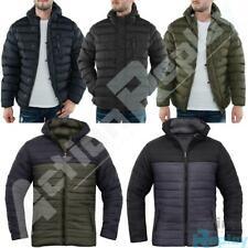 Mens Soulstar Padded Quilted Zip Up Puffer Jacket Hooded Winter Coat Size