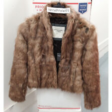 ABERCROMBIE & FITCH WOMENS KYLIE VEGAN FUR COAT JACKET BROWN SIZE MEDIUM